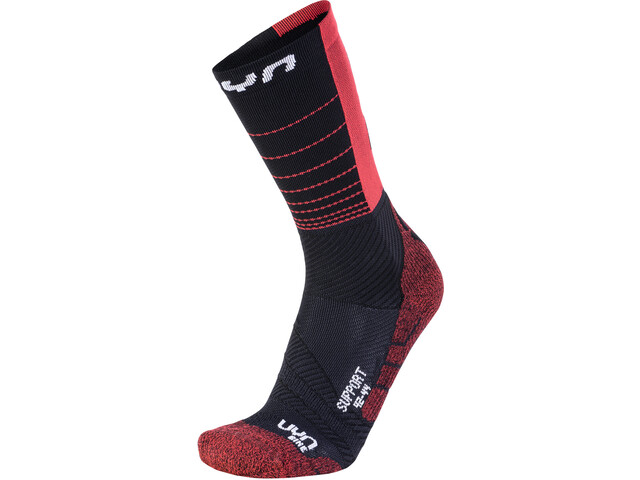UYN Cycling Support Socks Herren black/hibiscus
